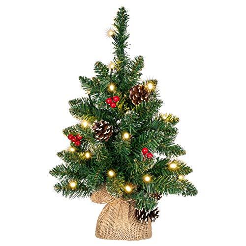 künstlicher Weihnachtsbaum grün mit Deko Lichterkette 20 LED warm weiß Batterie Timer Christbaum Tannenbaum 45 cm Weihnachtsdeko Xmas-Deko