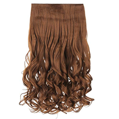 """REECHO 16"""" 1-Pack 3/4 Full Head Curly Wavy Clips in on Synthetic Hair Extensions Hairpieces for Women 5 Clips 3.9 Oz per Piece - Linen"""
