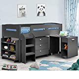Kids Mid Sleeper Bed, Happy Beds Kimbo Anthracite Grey Wood Contemporary Desk Drawers Shelf Storage Bed Cabin Bed - 3ft Single (90 x 190 cm) Frame Only