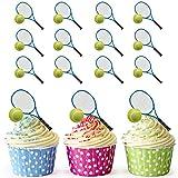 Lot de 12 décorations prédécoupées et comestibles pour cupcakes/gâteaux en forme de raquette et balle de tennis