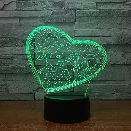 Luz de noche 3D, te amo, cariño, luz USB 3D, decoración romántica, luz de noche colorida, novia, regalo del día de la madre