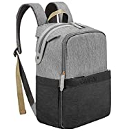 Canway Diaper Bag Backpack Unisex Baby Bag Travel Maternity Nappy Bag Large Capacity with Insulated Pockets, Diaper Bag Backpack Multi-Function Waterproof and Durable for Mom & Dad (Black-Gray)