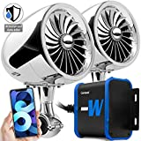 GoHawk TJ4-W Waterproof Amplifier 4' Full Range Bluetooth Motorcycle Stereo Speakers 1 to 1.25 in. Handlebar Mount Audio Amp System Harley Touring Cruiser ATV 4-Wheeler, USB, AUX, FM Radio