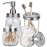 HOTOOLME Einmachglas Badezimmerzubehör Set, Badaccessoires Set - inklusive Mason Jar Seifenspender...