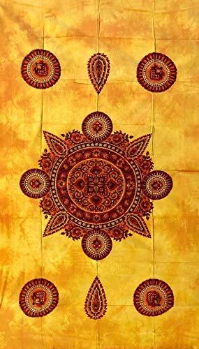 Lacy Überwurf für Einzelbett, 140 x 220 cm, 100 % Baumwolle, Strandtuch, Sesselüberwurf, indisches Batik (gelb)