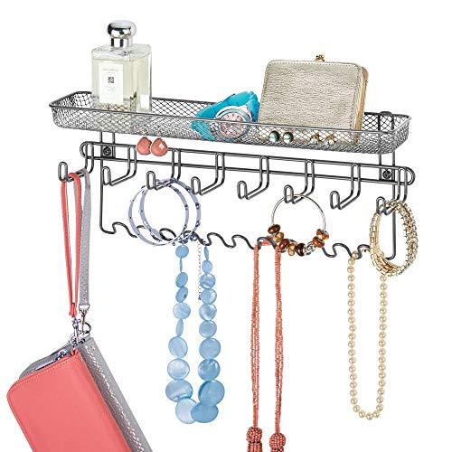 mDesign Colgador de joyas de pared – Joyero organizador, ideal para colgar collares, pendientes, pulseras y otros accesorios – Práctico colgador de pared para organizar bisutería – color grafito