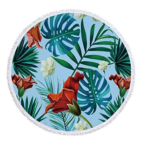 Vanzelu strandhanddoek super groot, strandmat strandhanddoek, groene plantenmodellen, indoor yogamat