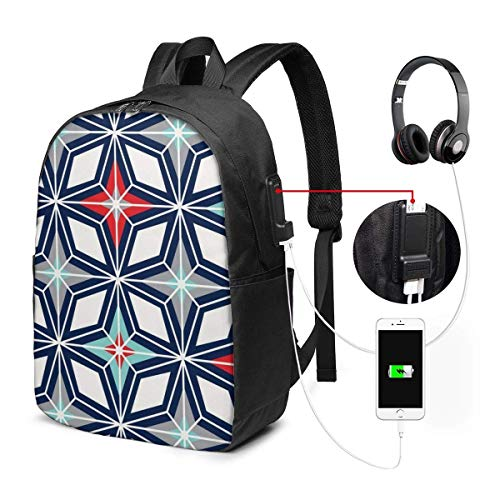 Lawenp Nordic Star Navy Red Midcentury Modern Geometric Travel Laptop Mochila, Business Anti Theft Slim Durable con Puerto de Carga USB, College School Computer Mochila Bookbag Casual Senderismo Day