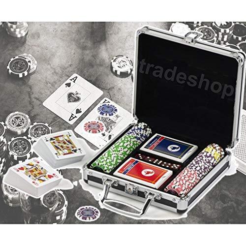 TrAdE Shop Traesio- Set Kit 100 Poker FICHES Chips Valigetta Carte Gioco Tavolo Texas Holdem Dealer
