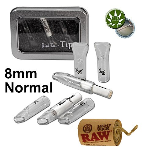 yaoviz® Set Black Leaf 3 Glastips für actitube Filter Slim bzw. Normal + 3 Meter RAW Hemp Wick + Fight-Button - Tips aus Glas in Blechdose (3 Glasfilter 8mm + 1 actitube Filter + 3M HempWick)