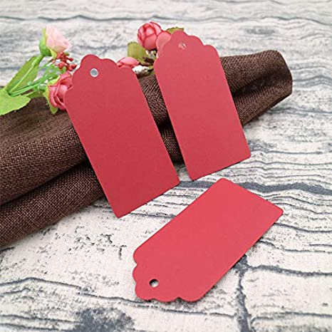 blank tags graduation party favor thank you Valentines Day tags wedding tags gift tags 20 red tags with string hang tags 1.25 x 2