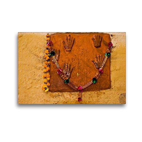 CALVENDO Premium Textil-Leinwand 45 x 30 cm Quer-Format Handabdrücke der Witwen im Meherangarh-Fort in Jodhpur, Leinwanddruck von Rosemarie Prediger