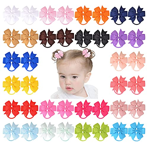 40 PCS 2.5 Inches Boutique Hair Bows Ties Tiny Elastic Ponytail Rubber Bands Grosgrain Ribbon Hair Accessories for Baby Girls Newborn Infants Toddlers and Kids Children Teens in Pairs