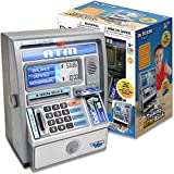 Dr. STEM Toys Kids Talking ATM Machine Savings Piggy Bank with Digital Screen, Electronic Calculator That Counts Real Money, and Safe Box for Kids, Silver
