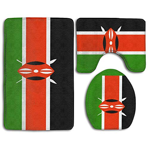 Keniaanse vlag Keniaanse vlag Keniaanse vlag 3-delige badkamer-vloerkleed baddeken 3-delige tapijt badkamer-vloerkleed set toiletbrilhoes combo