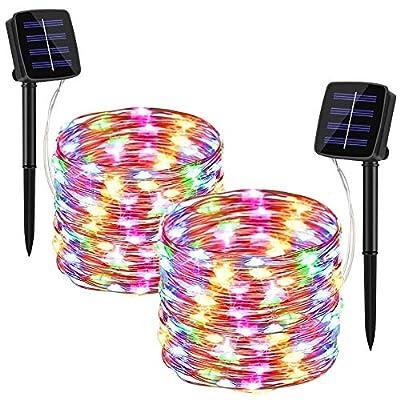 Tarnel Solar String Lights Outdoor - 2 Pack 33FT 100 LED Solar Powered String Lights Waterproof Yard Trees Christmas Table Wedding Garden Lights Copper (Multicolor)