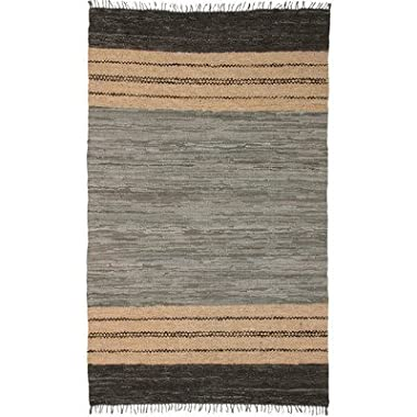 Matador Leather Chindi Rug, 5 by 8-Feet, Gray