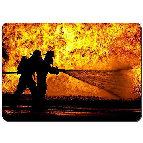 kThrones Non-Slip Bath Mat Feuerwehrheld,Feuer,Feuerlöscher Shower Mat Bathroom Anti Slip Mat(75cmx45cm)