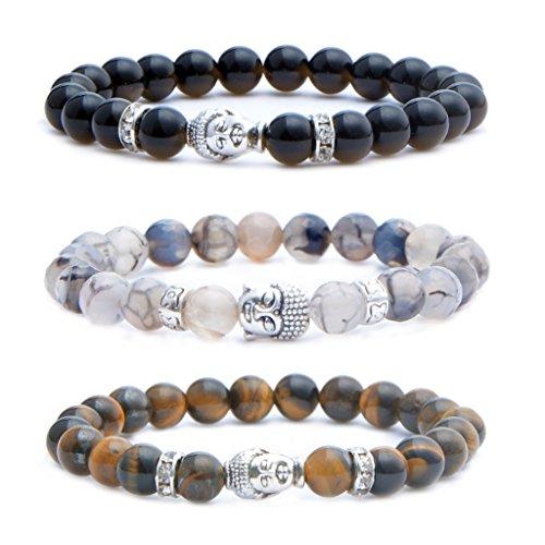 MIKINI Mens Womens 8MM Healing Gemstone Buddhist Prayer Beads Bracelet, Alloy Buddha Head, 7'', Elastic (Black Agate & Dragon Vein Stone & Tiger Eye Stone)