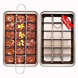 Non Stick Brownie Pans with Dividers, High Carbon Steel Baking Pan, Makes 18 Pre-cut Brownies All at...