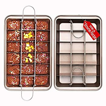 Non Stick Brownie Pans with Dividers High Carbon Steel Baking Pan Makes 18 Pre-cut Brownies All at Once