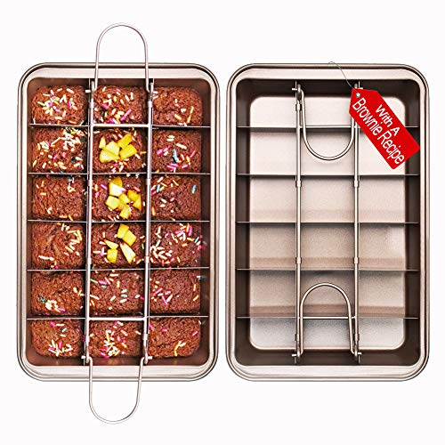 Non Stick Brownie Pans with Dividers, High Carbon Steel Baking Pan, Makes 18 Pre-cut Brownies All at Once