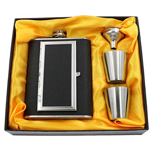Bestonzon - Coffret cadeau : flasque en acier inoxydable anti-fuite avec étui à cigarettes intégré, entonnoir et deux gobelets