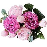 TEAYASON 造花5ヘッド/ブーケ牡丹造花シルクブーケ4つぼみフラワーウェディングホームデコレーションホームデコレーション(カラー:ローズレッド),ローズレッド