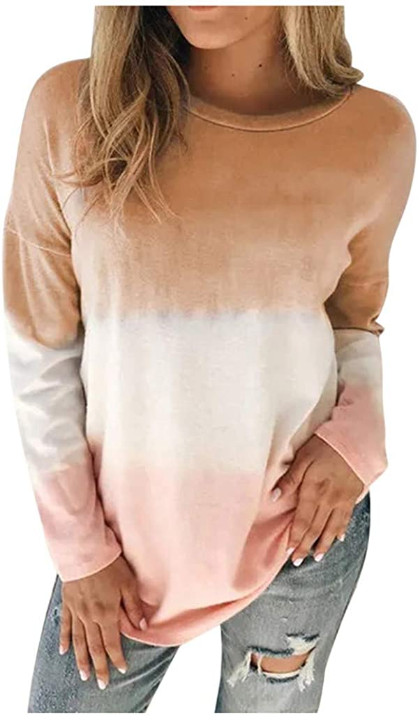 Long Sleeve Tops for Women,Womens Gradient Round Neck Pullover Sweatshirts Trendy Loose Tunic Blouse Tops