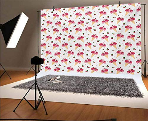 Ice Cream 20x10 FT Vinyl Backdrop PhotographersChildish Pattern Melting Cranberry Ice Cream Cones Dripping Cherries Stars Background for Baby Birthday Party Wedding Graduation Home Decoration