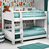 Bunk Bed with Storage, Happy Beds Domino Maple Wood Modern Twin Sleeper - 3ft Single (90 x 190 cm) Frame Only