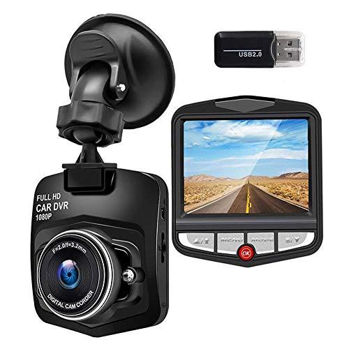 Cámara de Coche Dash CAM 1080P FHD Pantalla LCD de 2.6 Pulgadas, Gran Angular de 170 °, G-Sensor, WDR, Monitor de Aparcamiento, Grabación en Bucle, Detección de Movimiento
