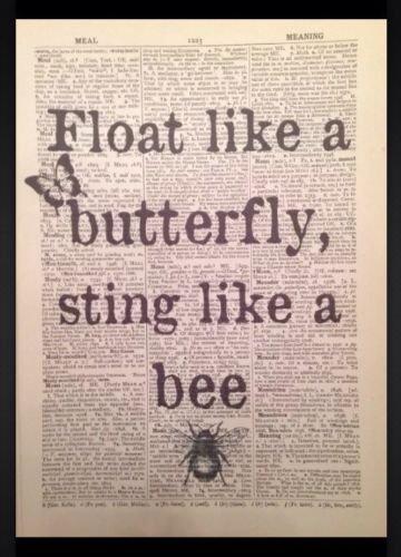 Parksmoonprints - Stampa artistica da parete, motivo: 'Float Like A Butterfly Muhammad Ali'
