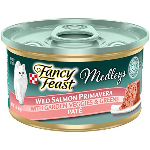 Purina Fancy Feast Medleys Pate Collection Gourmet Wet Cat Food, (24) 3 oz. Cans, Wild Salmon Primavera with Garden Veggies & Greens