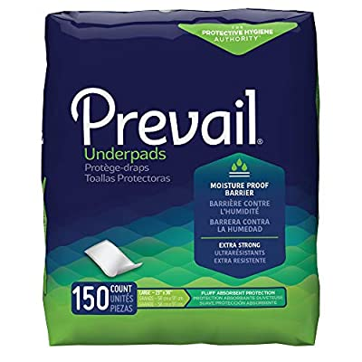 """Prevail Underpads, Fluff Absorbent, Large 23"""" X 36"""", 15 Count (Pack of 10 (150 Count))"""