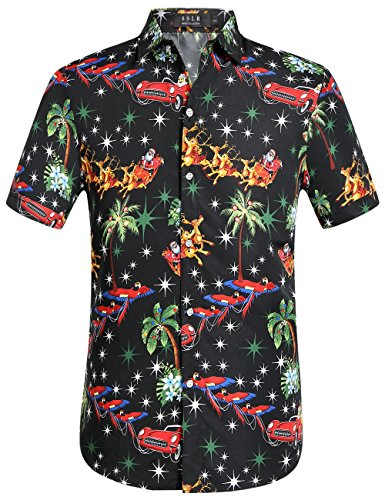 SSLR Men's Santa Claus Holiday Party Hawaiian Ugly Christmas Shirts (Large, Black)