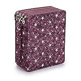 Sumnacon 160 trous Trousse/Sac de crayon avec Grand capacité pour Dessinateur Professionnelle ou Amateur (Étoile violette)