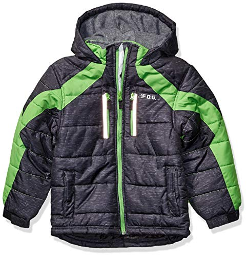 LONDON FOG Boys' Little Active Puffer Jacket Winter Coat, Super Black, 4