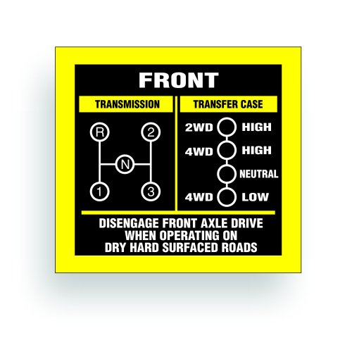 Transmission Shift Pattern Sticker Decal - Compatible with Jeep, Kaiser Willys MB, GPW, M38, M151, WW2, May Fit Transmission Transfer Case T90, T86, T14A, Spicer 18, 3 Speed, Single Stick 3x3.25 inch