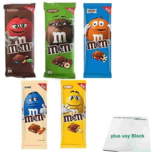 m&m's Schokoladentafel Testpaket mit 1x Chocolate, 1x Hazelnut, 1x Crispy, 1x Almond & 1x Peanut (3x165g, 2x150g Tafel) + usy Block