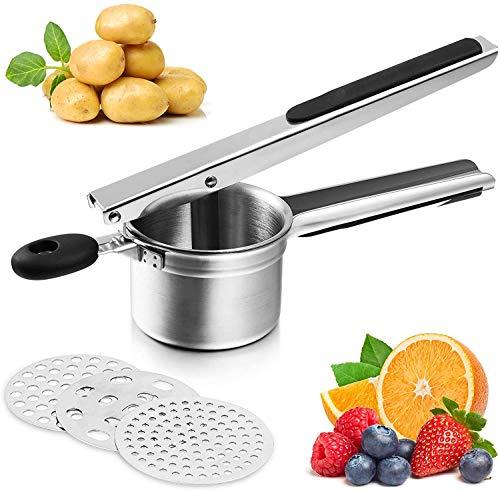 Arricer de patatas, arroz para puré de patatas, arroz de papas de acero inoxidable con 3 discos intercambiables de finura y triturador de patatas crea para puré de papas, frutas, verduras