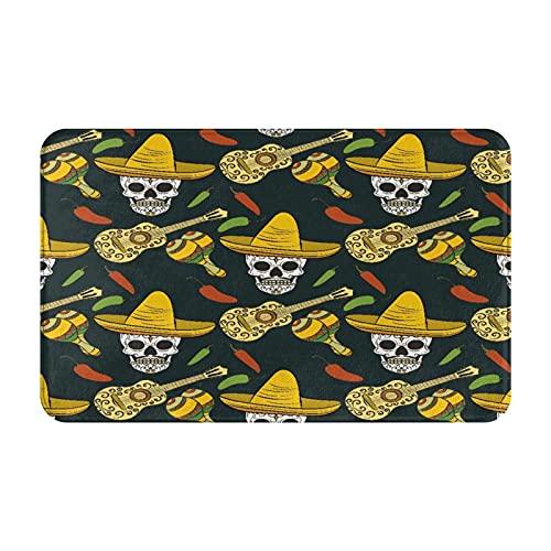 Antideslizante Suave Alfombra de Baño,Guitarra Mexicana Sugar Skulls Chili Pepper,Micro Personalizado Decoración del Hogar Baño Alfombra de Piso,80 x 49 CM