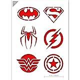 QBIX Stencil da Supereroe - Superman, Batman, Spiderman, Wonder Woman, Flash, Capitan America - Formato A5 - Stencil riutilizzabili Kids Friendly per Pittura, Cottura, Artigianato, pareti, mobili
