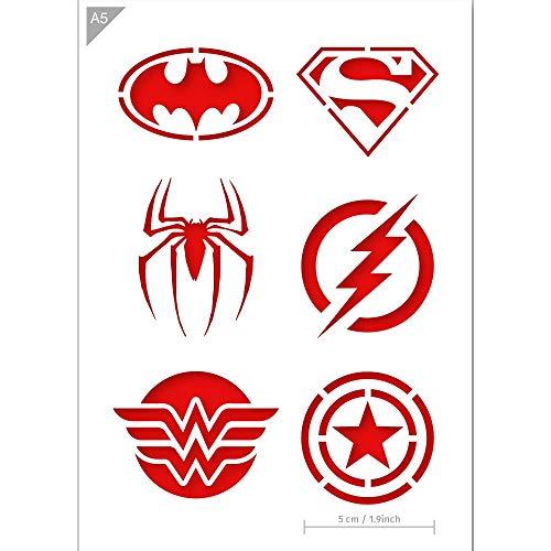 QBIX Superheld Schablone - Superman, Batman, Spiderman, Wonder Woman, Flash, Captain America - Größe A5 - Wiederverwendbare kinderfreundliche DIY Schablone zum Malen, Backen, Basteln, Wand, Möbel