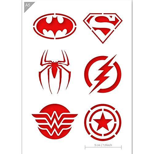 Qbix Superhero Stencil - Superman, Batman, Spiderman, Wonder Woman, Flash, Captain America - A5 Size - Reusable Kids Friendly DIY Stencil for Face Painting, Baking, Crafts, Wall, Furniture