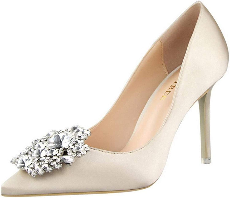 JaHGDU Women Pumps Elegant Rhinestone High Heels shoes Sexy Slim Single shoes Leisure Elegant Cosy Wild Tight Super Quality for Womens