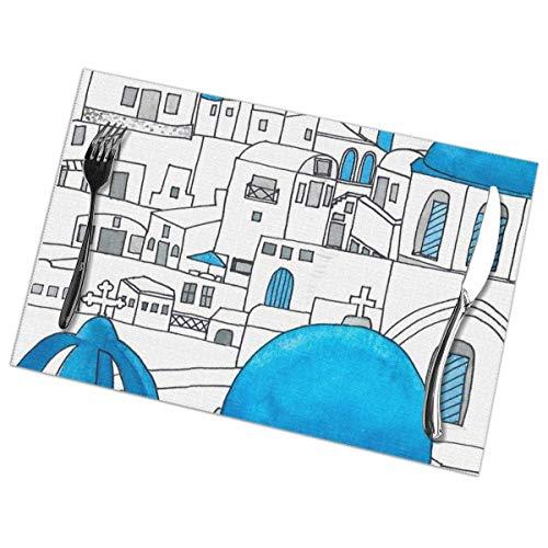 Santorini - Juego de 6 manteles individuales para mesa de comedor, lavables...