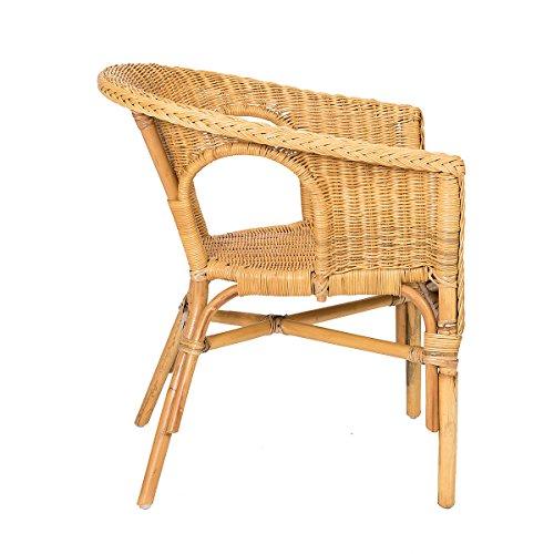 Rotin Design Lote de 2 sillones de Mimbre Chris Miel Moderno y Barato