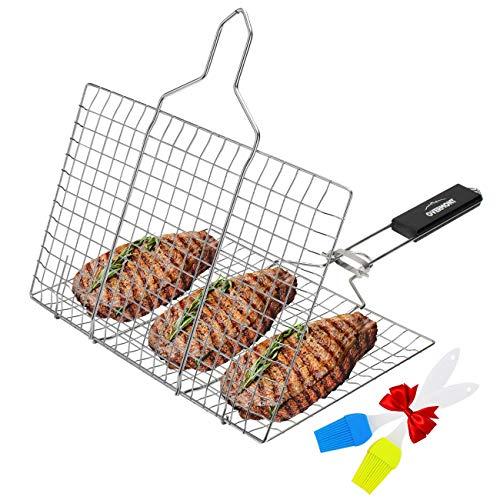 Overmont Grillroste Grillkorb Grill Fischhalter Gemüsekorb Burger Grillwender Fischbräter 18/8 304 Edelstahl mit Abziehbarem Holzgriff, Zwei Silikon Pinsel