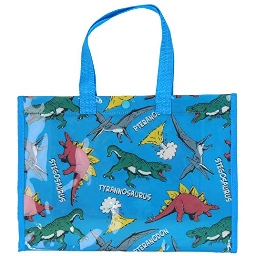 Teddy プールバッグ ビーチバッグ 女の子 男の子 キッズ 子供 防水 水泳 スイミング用 ビニール 透明 トートバッグ bag044 (N:恐竜・ブルー)